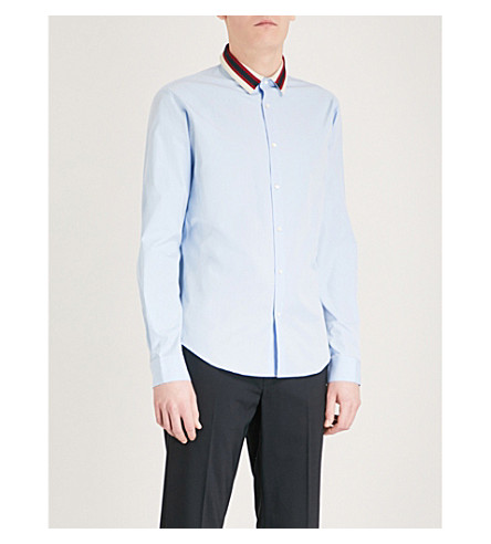 SANDRO Contrast-collar regular-fit cotton shirt (Sky+blue