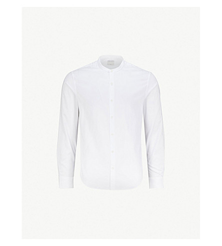 SANDRO 带领常规版型棉衬衫 (白色