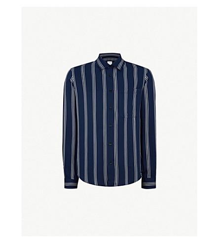 SANDRO Regular-fit striped woven shirt (Marine