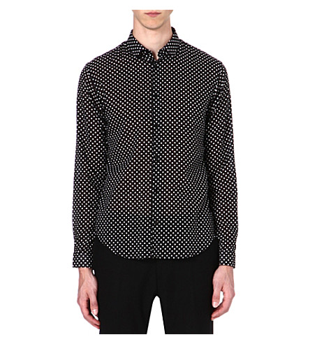 SANDRO Polka-dot slim-fit shirt (Black