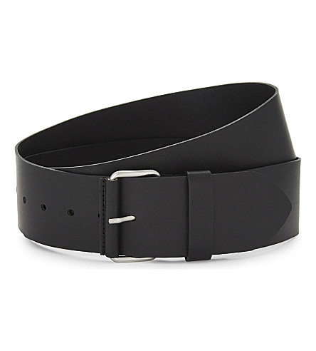 SANDRO Smooth leather belt (Black