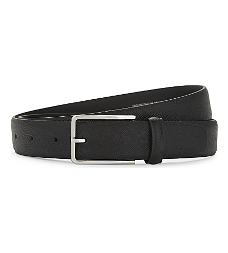 SANDRO Textured leather belt (Black