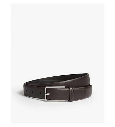 SANDRO Saffiano leather belt (Marron+fonce