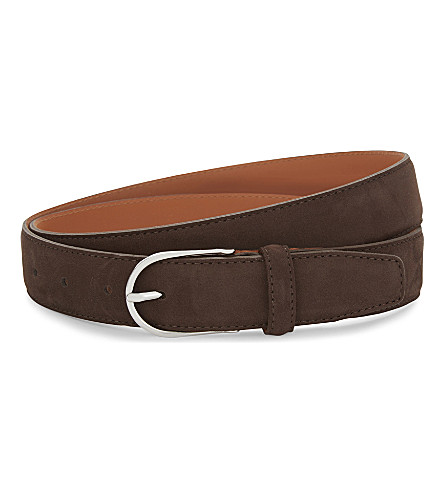 SANDRO Ace suede and leather belt (Brown
