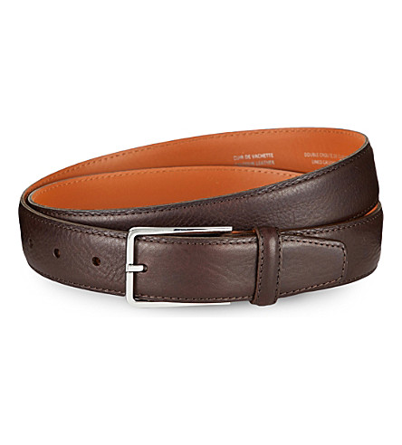 SANDRO Leather square loop belt (Brown