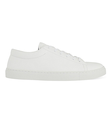 SANDRO Leather lace up trainers (White