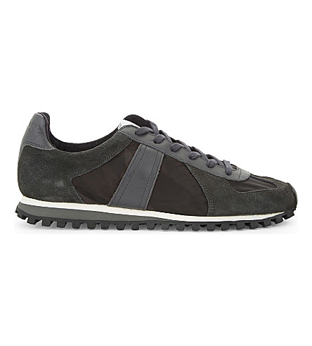SANDRO TX-03 leather & suede lace-up trainers (Grey