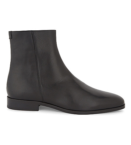 SANDRO High-top leather ankle boots (Black