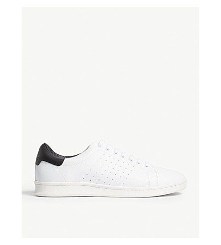 SANDRO Low-top leather trainers (White/black