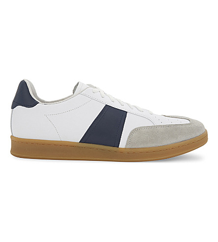 SANDRO Low-top leather trainers (Navy+blue