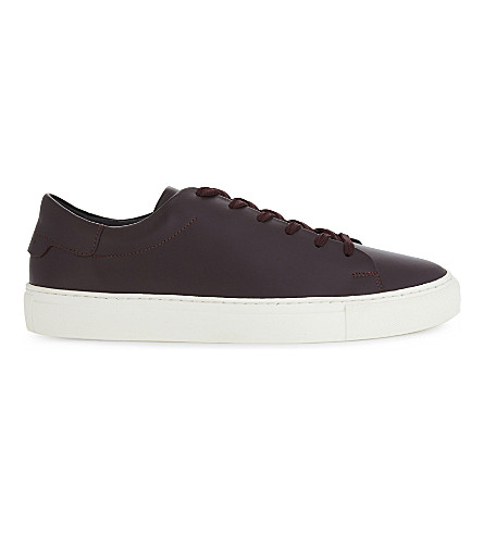 SANDRO Orbital leather trainers (Burgundy