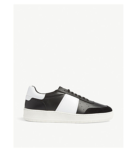 SANDRO Magic leather and suede trainers (Noir