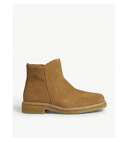 SANDRO 拉链沙漠黄靴子 (米色