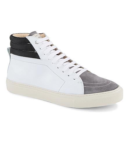 SANDRO Mixed-leather high tops (White