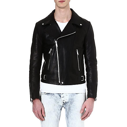 SANDRO Leather biker jacket (Black