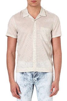 SANDRO Cotton-blend polka-dot shirt