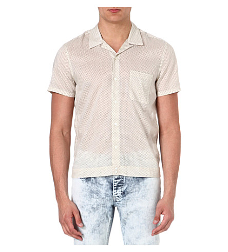 SANDRO Cotton-blend polka-dot shirt (Ecru