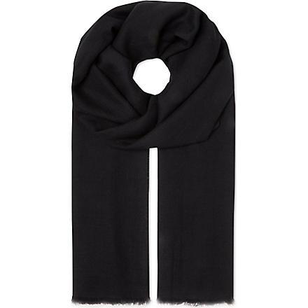SANDRO Wool and silk scarf (Black