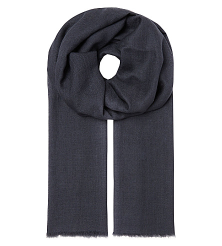 SANDRO Wool and silk scarf (Slate-grey