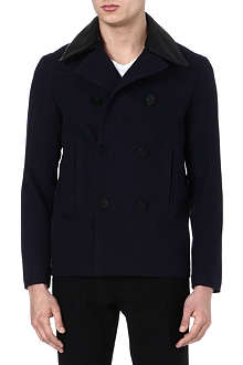 SANDRO Leather collar peacoat