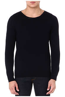 SANDRO Delay leather-trimmed wool jumper