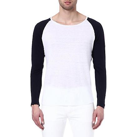 SANDRO Baseball linen t-shirt (Blanc