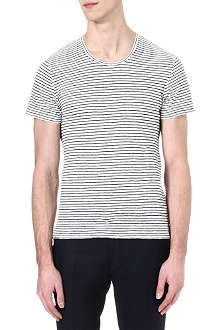 SANDRO Seagull striped linen t-shirt