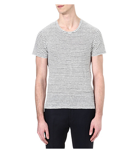 SANDRO Seagull striped linen t-shirt (Blanc