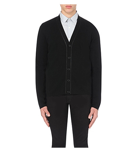 SANDRO Contrast-trim knitted cardigan (Black
