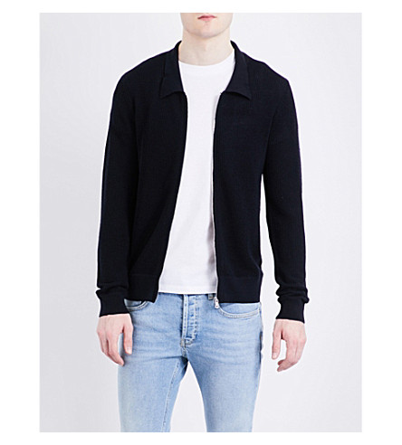 SANDRO Waffle-knit wool-blend cardigan (Navy+blue