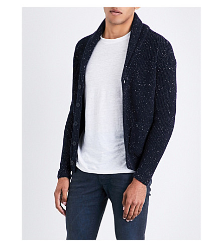 SANDRO Ribbed wool-blend cardigan (Navy+blue