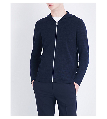 SANDRO Marl-pattern knitted cotton hoody (Blue