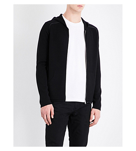 SANDRO Zip-up wool hoody (Black