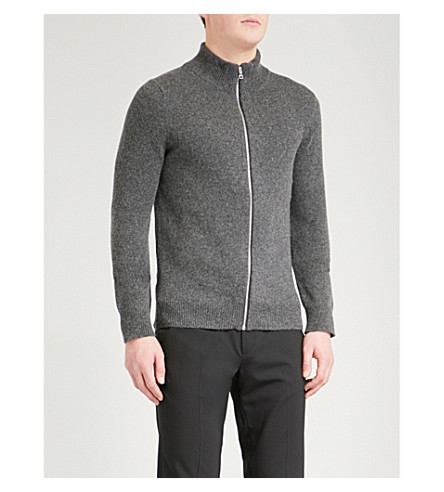 SANDRO Funnel-neck wool-blend jumper (Grey