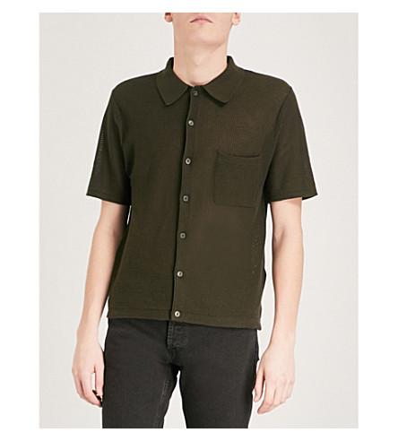SANDRO Textured-knit cotton polo shirt (Khaki