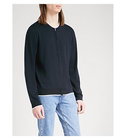 SANDRO Striped-trims wool cardigan (Navy+blue
