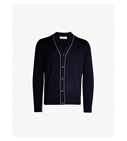 SANDRO Piped wool-and-cashmere blend cardigan (Navy blue