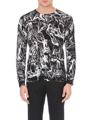 SANDRO Smoke oil-print knitted jumper
