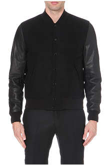 SANDRO Varsity leather-detail jacket