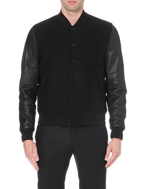 SANDRO Varsity leather-detail jacket