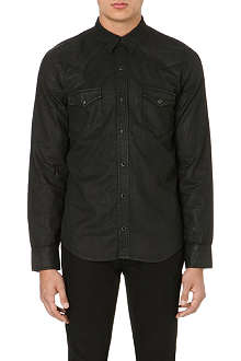 SANDRO Waxed-cotton shirt