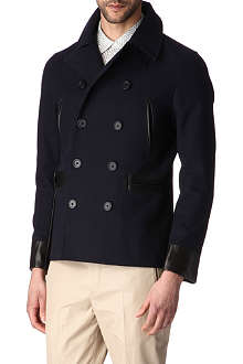 SANDRO Navy double-breasted coat