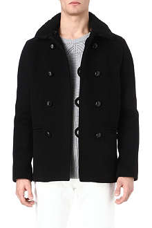 SANDRO Harvard shearling-collar peacoat