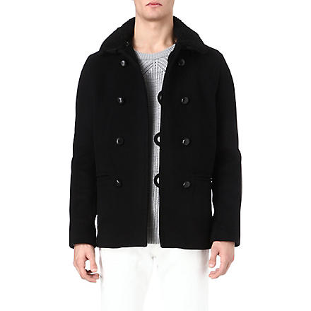 SANDRO Harvard shearling-collar peacoat (Black