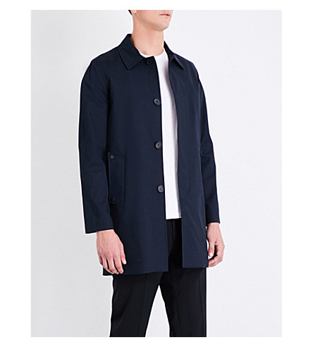 SANDRO Single-breasted cotton-blend coat (Blue/green