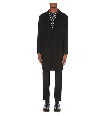 SANDRO Single-breasted wool and cashmere-blend coat (Black