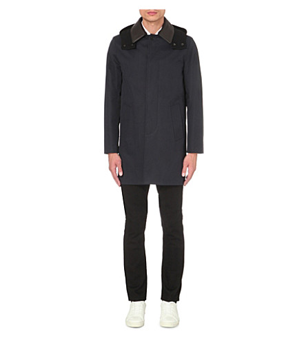 SANDRO Knit hooded cotton coat (Navy+blue