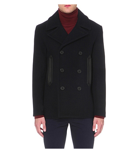 SANDRO Double-breasted wool-blend peacoat (Navy+blue