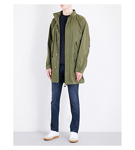 SANDRO Fishtail hooded coat (Olive+green