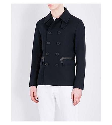 SANDRO Faux leather-trimmed cotton-blend coat (Navy+blue